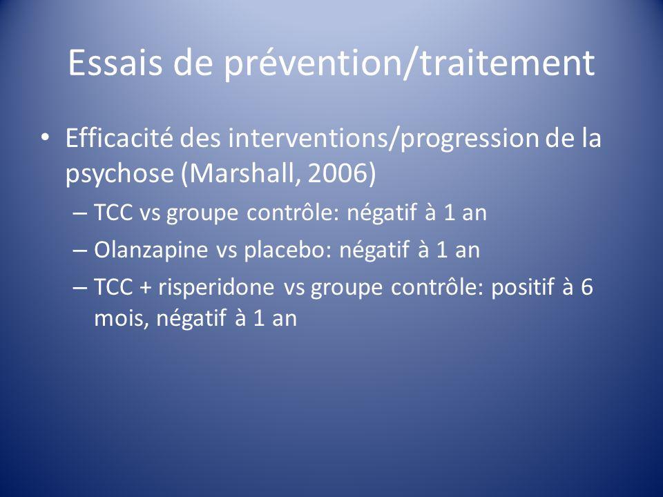 Essais de prévention/traitement Efficacité des interventions/progression de la psychose (Marshall, 2006) – TCC vs groupe contrôle: négatif à 1 an – Ol