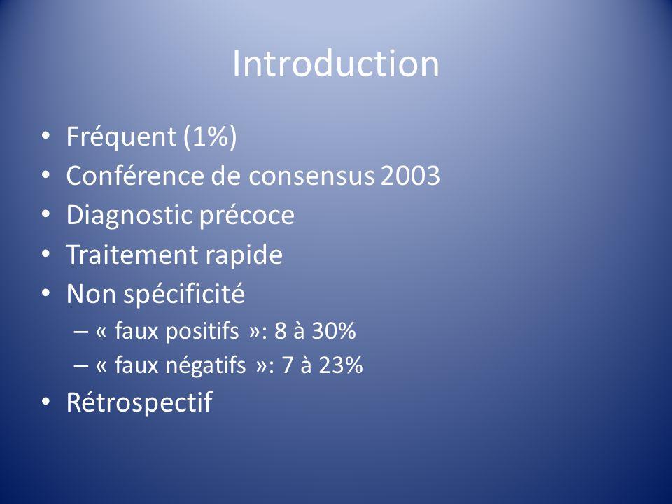 Introduction Fréquent (1%) Conférence de consensus 2003 Diagnostic précoce Traitement rapide Non spécificité – « faux positifs »: 8 à 30% – « faux nég