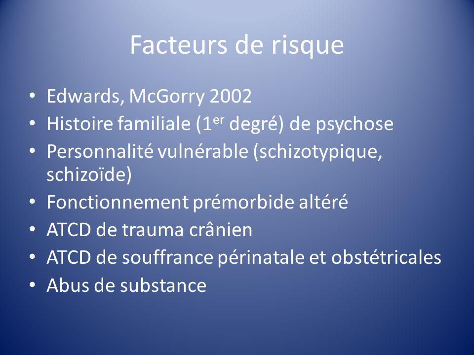 Facteurs de risque Edwards, McGorry 2002 Histoire familiale (1 er degré) de psychose Personnalité vulnérable (schizotypique, schizoïde) Fonctionnement