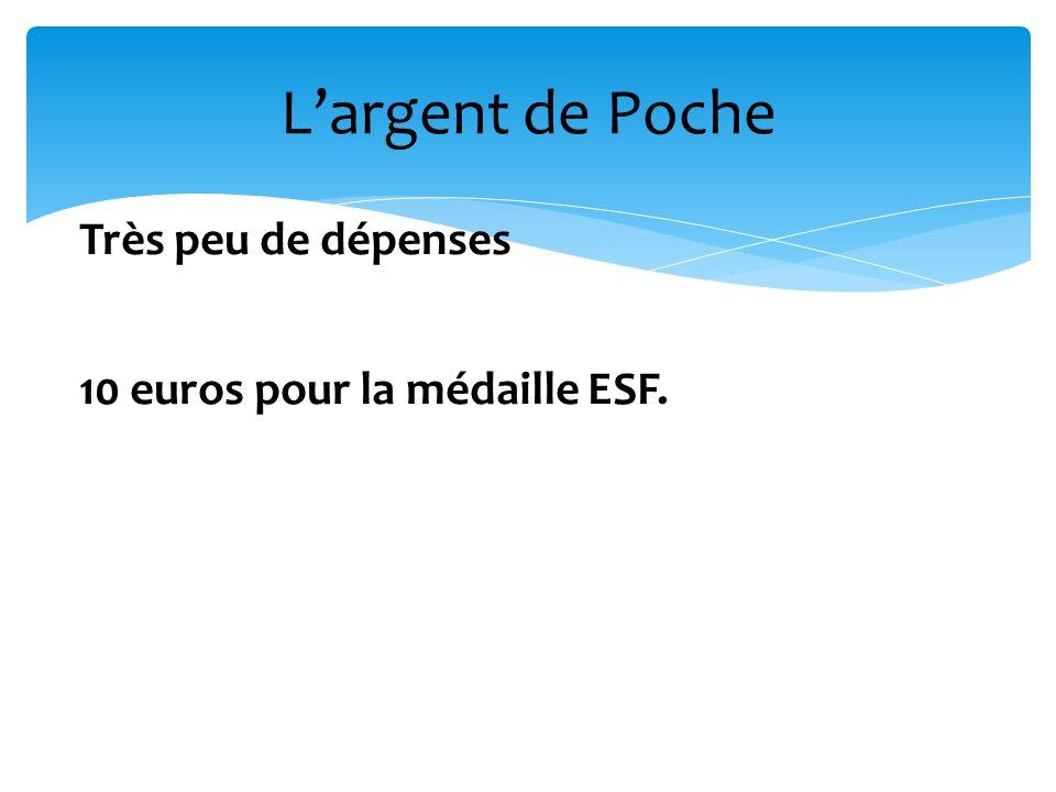 Largent de Poche Très peu de dépenses 10 euros pour la médaille ESF.