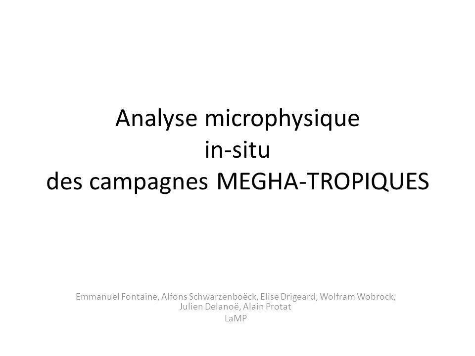 Analyse microphysique in-situ des campagnes MEGHA-TROPIQUES Emmanuel Fontaine, Alfons Schwarzenboëck, Elise Drigeard, Wolfram Wobrock, Julien Delanoë, Alain Protat LaMP