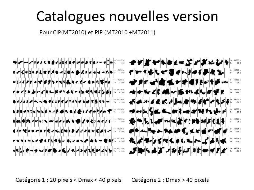 Catalogues nouvelles version Pour CIP(MT2010) et PIP (MT2010 +MT2011) Catégorie 1 : 20 pixels < Dmax < 40 pixelsCatégorie 2 : Dmax > 40 pixels