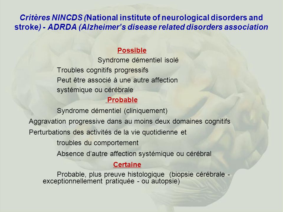 Critères NINCDS (National institute of neurological disorders and stroke) - ADRDA (Alzheimers disease related disorders association Possible Syndrome
