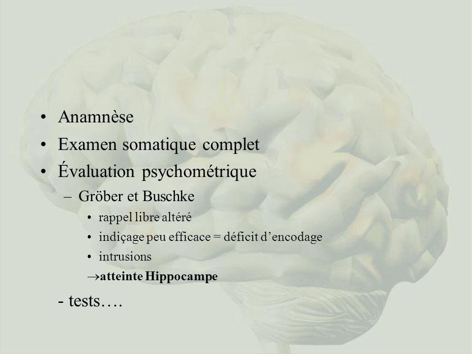 Anamnèse Examen somatique complet Évaluation psychométrique –Gröber et Buschke rappel libre altéré indiçage peu efficace = déficit dencodage intrusions ®atteinte Hippocampe - tests….