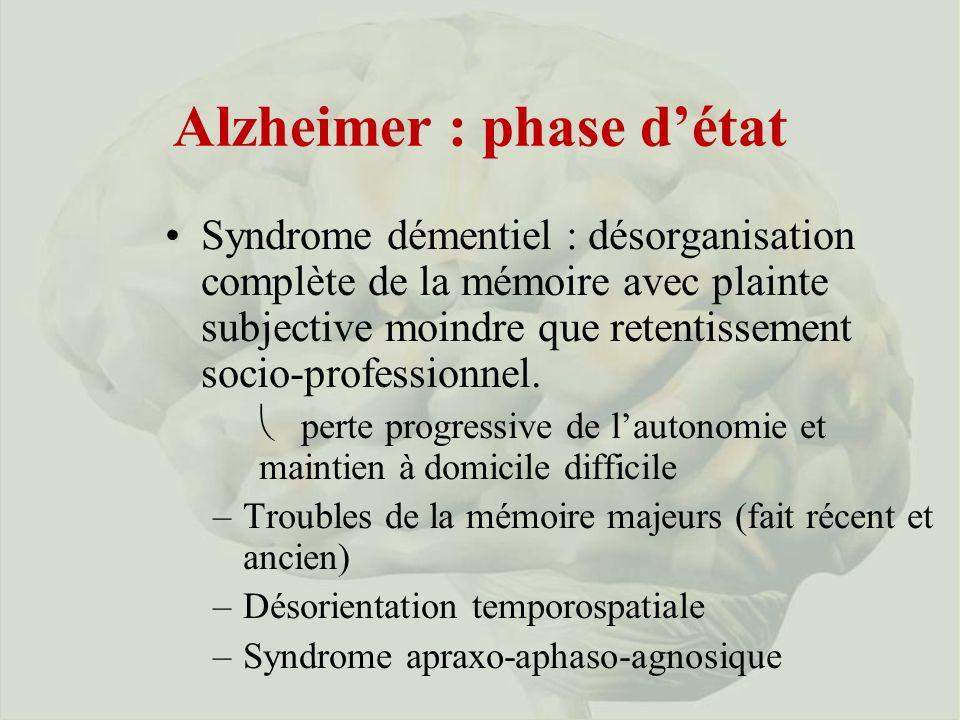 Alzheimer : phase détat Syndrome démentiel : désorganisation complète de la mémoire avec plainte subjective moindre que retentissement socio-professionnel.