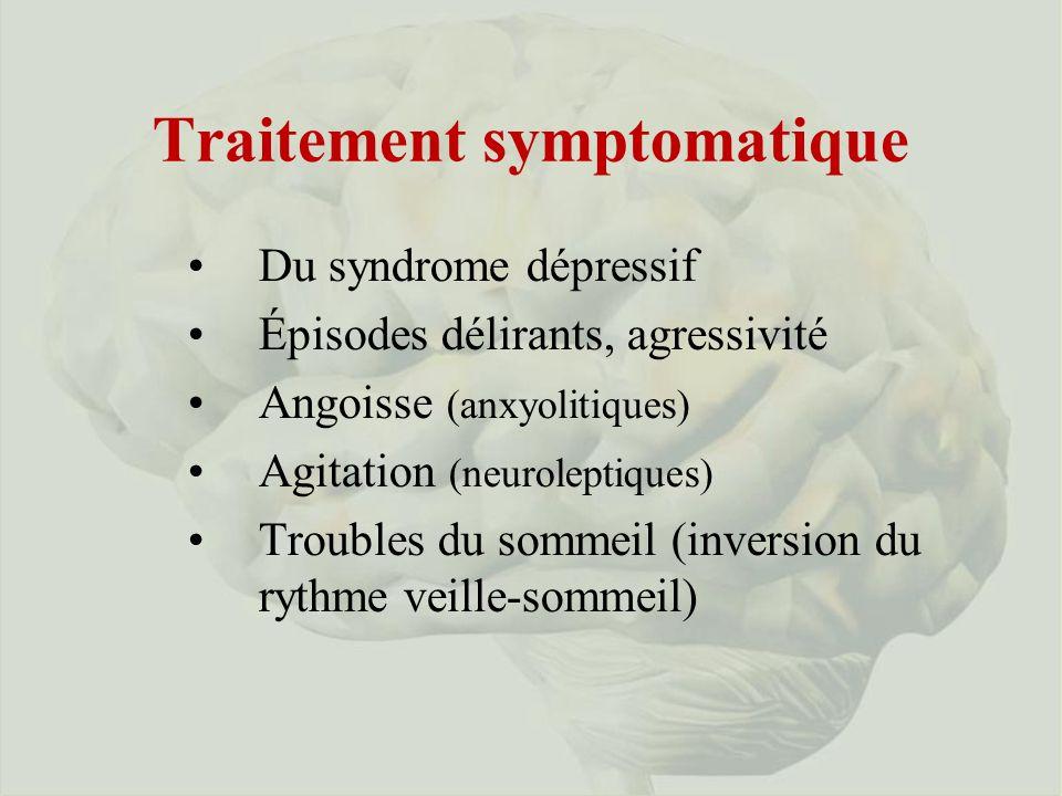 Traitement symptomatique Du syndrome dépressif Épisodes délirants, agressivité Angoisse (anxyolitiques) Agitation (neuroleptiques) Troubles du sommeil (inversion du rythme veille-sommeil)