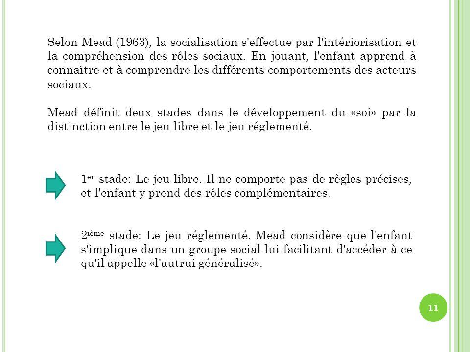 Selon Mead (1963), la socialisation s'effectue par l'intériorisation et la compréhension des rôles sociaux. En jouant, l'enfant apprend à connaître et