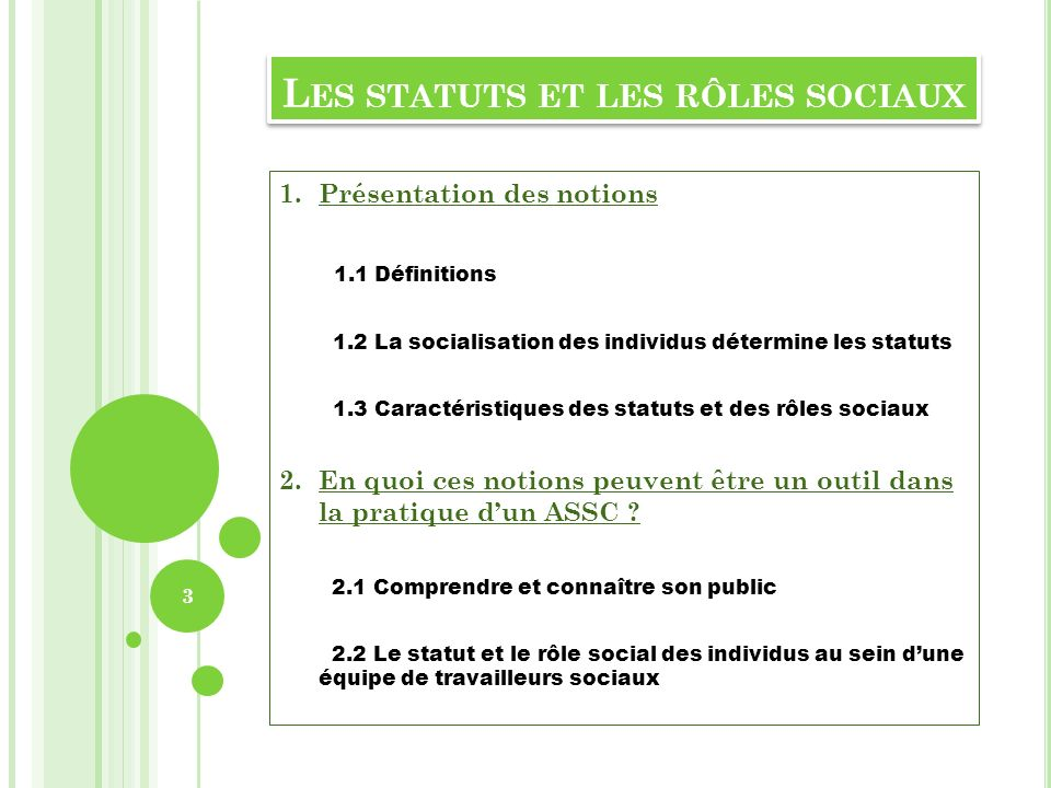 L ES STATUTS ET LES RÔLES SOCIAUX 1.Présentation des notions 1.1 Définitions 1.2 La socialisation des individus détermine les statuts 1.3 Caractéristi