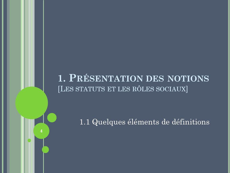 1. P RÉSENTATION DES NOTIONS [L ES STATUTS ET LES RÔLES SOCIAUX ] 1.1 Quelques éléments de définitions 4
