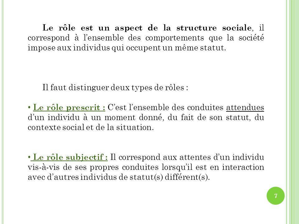 1.2 La socialisation des individus détermine les statuts 8