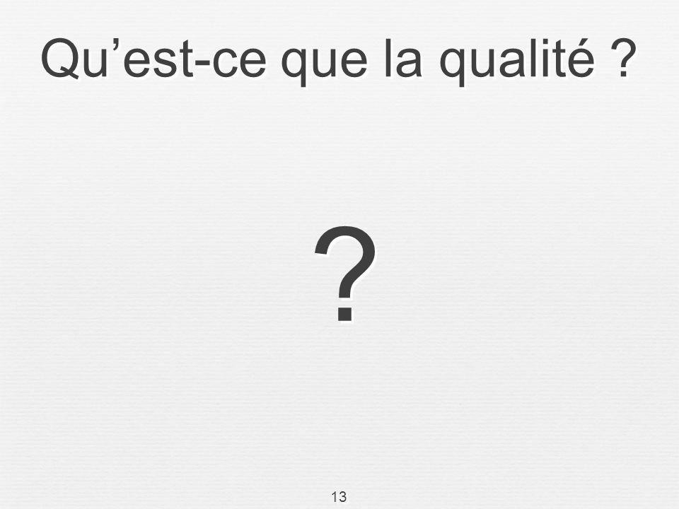13 Quest-ce que la qualité ? ? ?