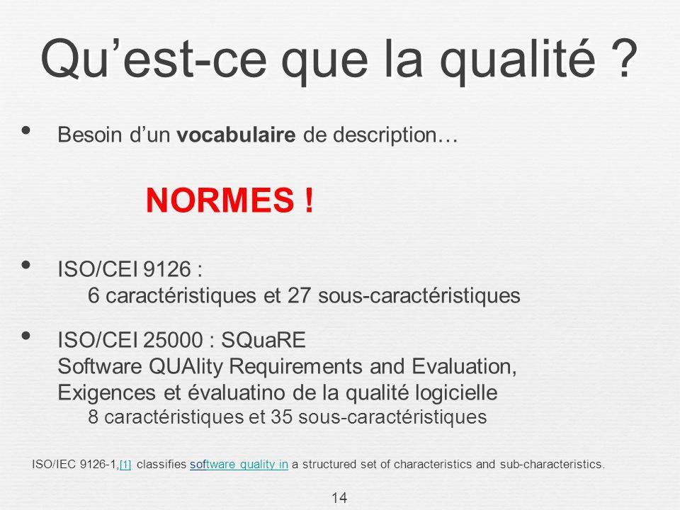 14 Quest-ce que la qualité ? Besoin dun vocabulaire de description… ISO/CEI 9126 : 6 caractéristiques et 27 sous-caractéristiques ISO/CEI 25000 : SQua