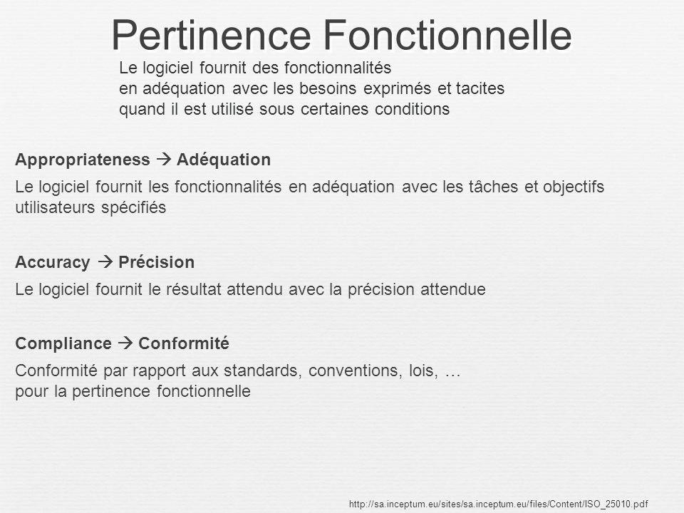Pertinence Fonctionnelle Appropriateness Adéquation Le logiciel fournit les fonctionnalités en adéquation avec les tâches et objectifs utilisateurs sp