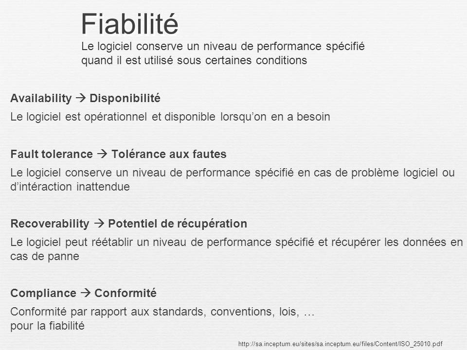Fiabilité Availability Disponibilité Le logiciel est opérationnel et disponible lorsquon en a besoin Fault tolerance Tolérance aux fautes Le logiciel