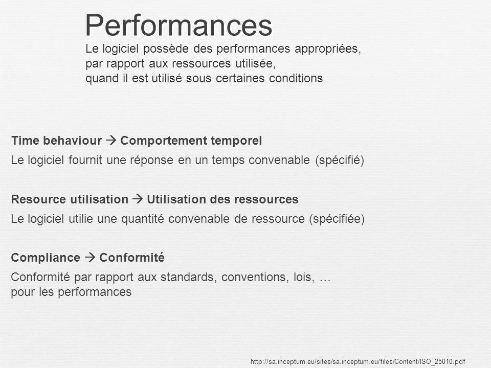 Performances Time behaviour Comportement temporel Le logiciel fournit une réponse en un temps convenable (spécifié) Resource utilisation Utilisation d