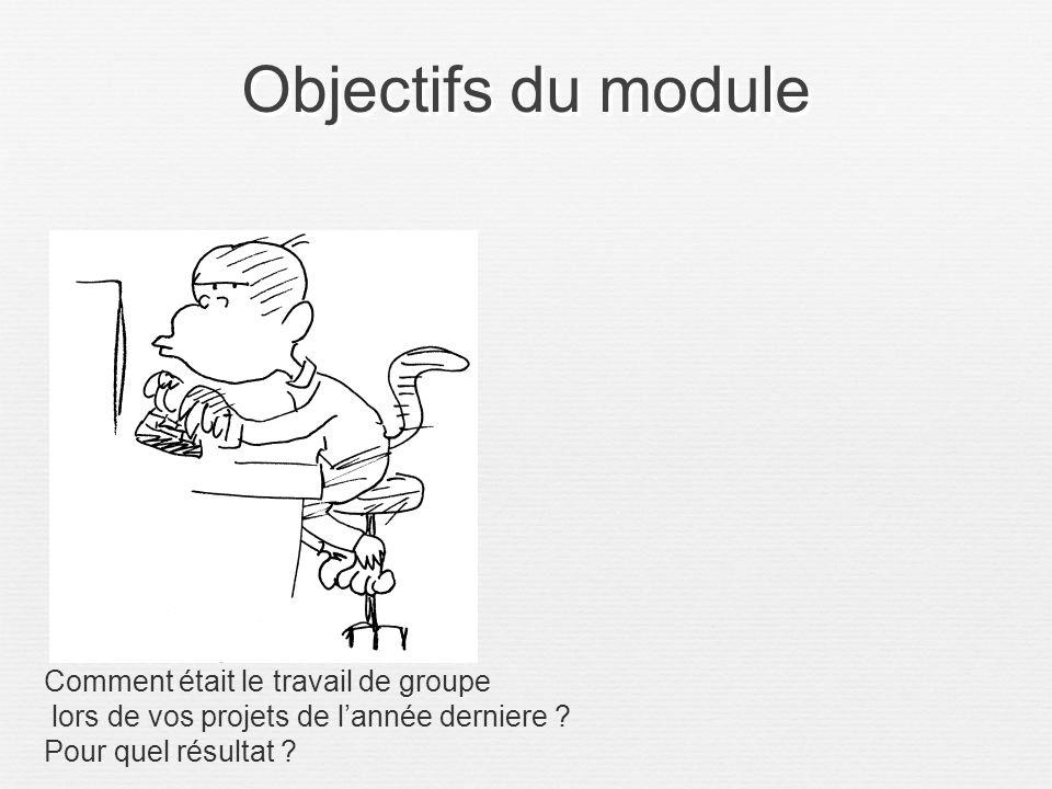 Objectifs du module Comment était le travail de groupe lors de vos projets de lannée derniere ? Pour quel résultat ?
