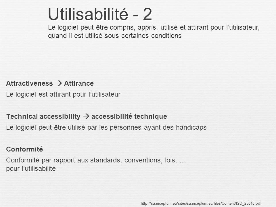 Utilisabilité - 2 Attractiveness Attirance Le logiciel est attirant pour lutilisateur Technical accessibility accessibilité technique Le logiciel peut