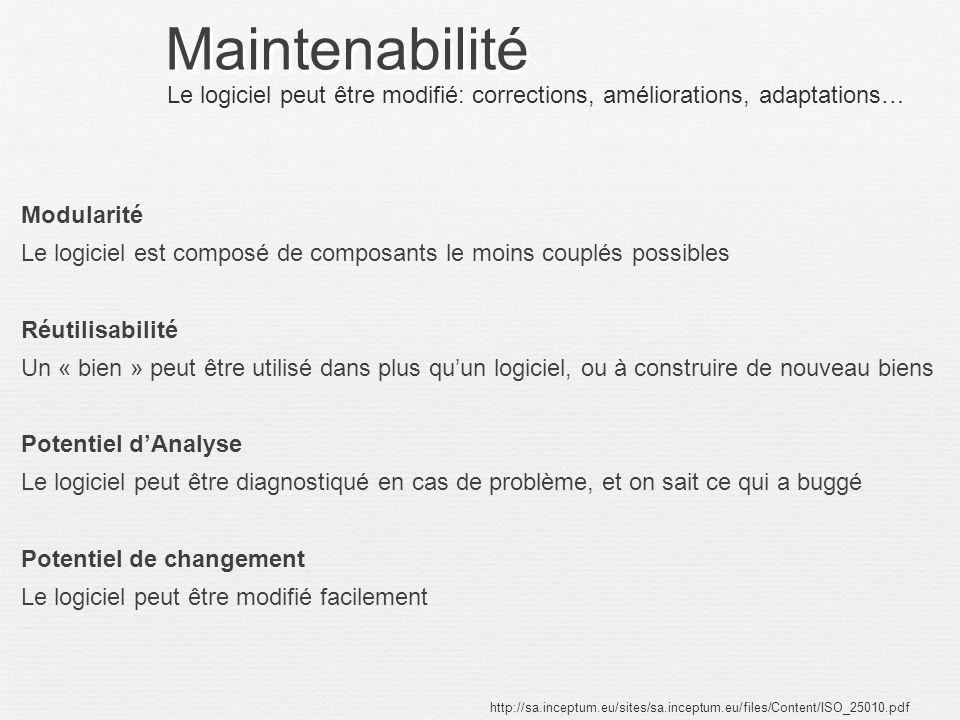 Maintenabilité Modularité Le logiciel est composé de composants le moins couplés possibles Réutilisabilité Un « bien » peut être utilisé dans plus quu