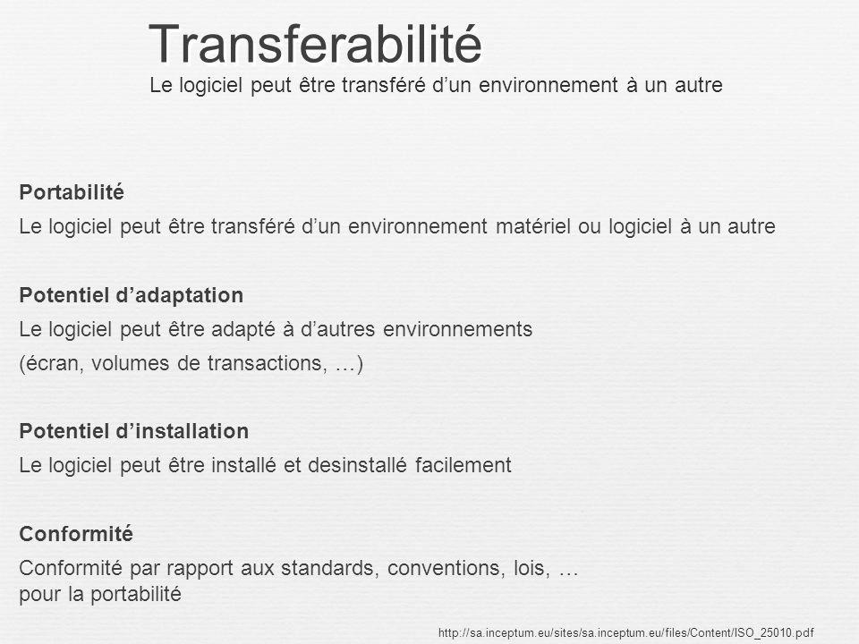 Transferabilité Portabilité Le logiciel peut être transféré dun environnement matériel ou logiciel à un autre Potentiel dadaptation Le logiciel peut ê