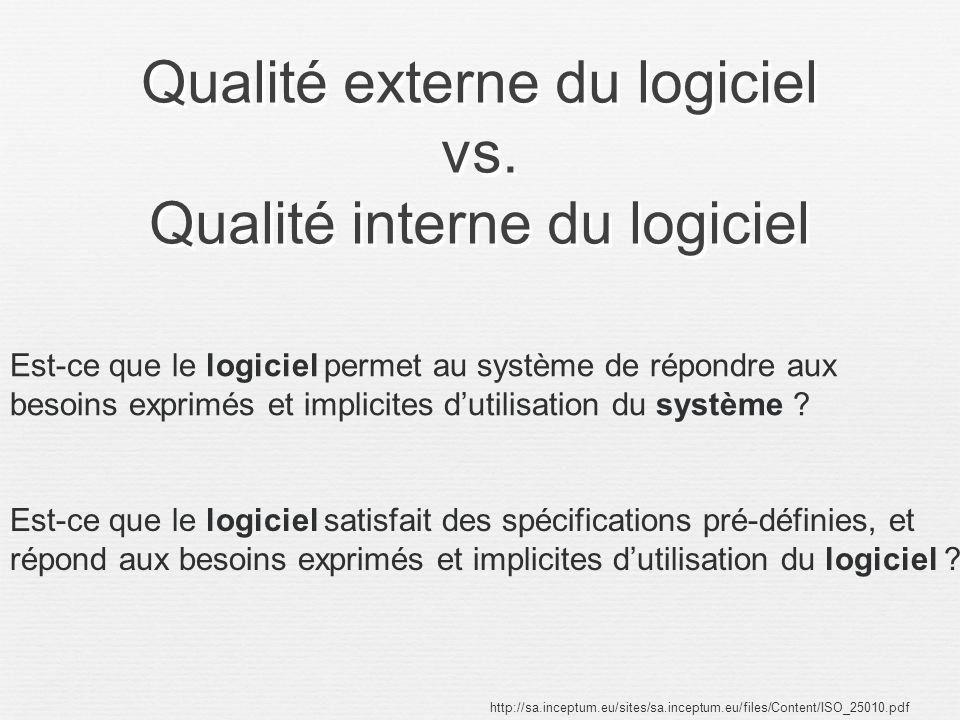 Qualité externe du logiciel vs. Qualité interne du logiciel http://sa.inceptum.eu/sites/sa.inceptum.eu/files/Content/ISO_25010.pdf Est-ce que le logic