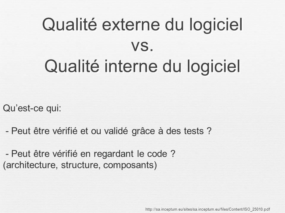Qualité externe du logiciel vs. Qualité interne du logiciel http://sa.inceptum.eu/sites/sa.inceptum.eu/files/Content/ISO_25010.pdf Quest-ce qui: - Peu