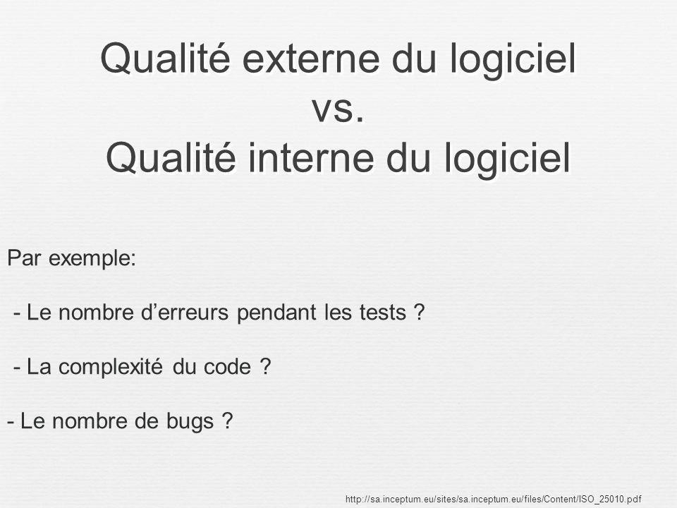 Qualité externe du logiciel vs. Qualité interne du logiciel http://sa.inceptum.eu/sites/sa.inceptum.eu/files/Content/ISO_25010.pdf Par exemple: - Le n