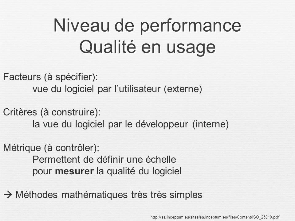 Niveau de performance Qualité en usage http://sa.inceptum.eu/sites/sa.inceptum.eu/files/Content/ISO_25010.pdf Facteurs (à spécifier): vue du logiciel