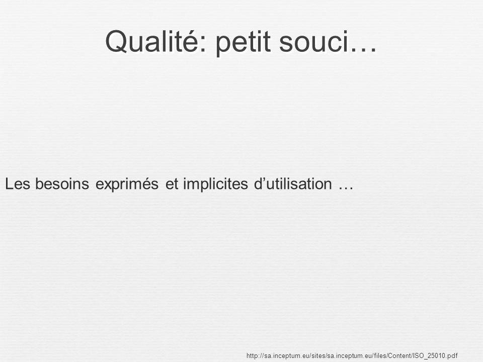 Qualité: petit souci… http://sa.inceptum.eu/sites/sa.inceptum.eu/files/Content/ISO_25010.pdf Les besoins exprimés et implicites dutilisation …