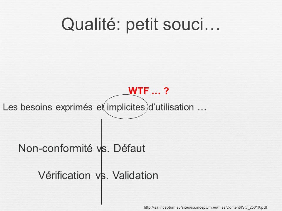 Qualité: petit souci… http://sa.inceptum.eu/sites/sa.inceptum.eu/files/Content/ISO_25010.pdf Les besoins exprimés et implicites dutilisation … WTF … ?