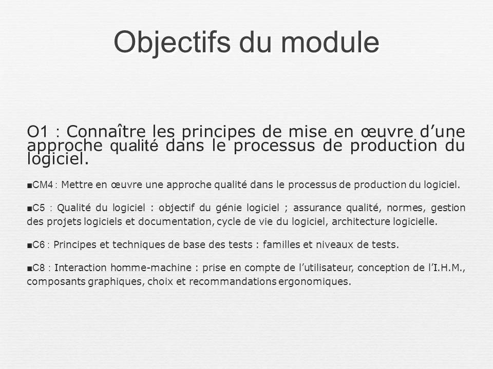 Objectifs du module O1 : Connaître les principes de mise en œuvre dune approche qualité dans le processus de production du logiciel. CM4 : Mettre en œ
