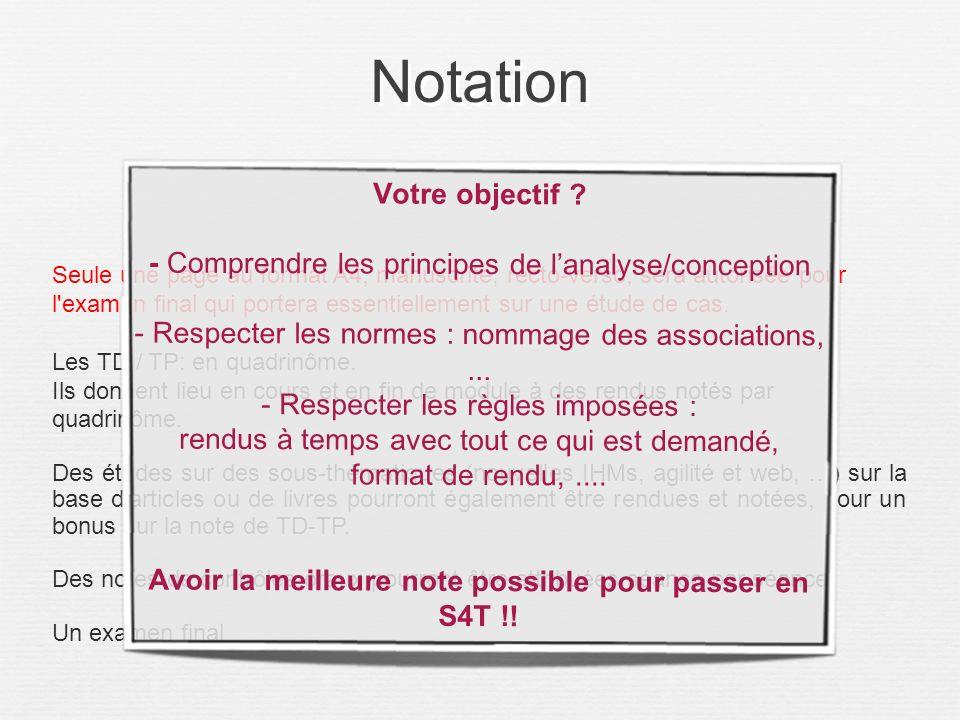Notation Seule une page au format A4, manuscrite, recto-verso, sera autorisée pour l'examen final qui portera essentiellement sur une étude de cas. Le