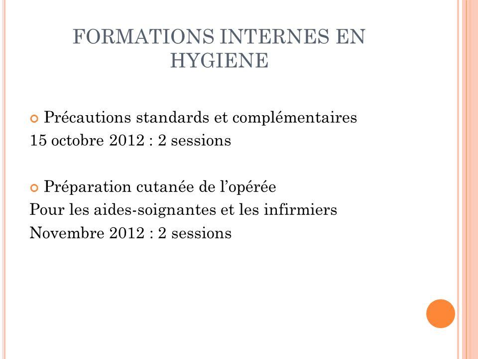 FORMATIONS INTERNES EN HYGIENE Précautions standards et complémentaires 15 octobre 2012 : 2 sessions Préparation cutanée de lopérée Pour les aides-soi