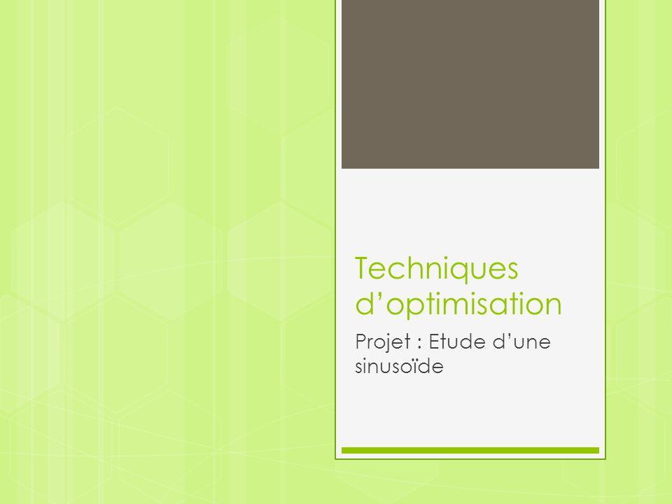 Techniques doptimisation Projet : Etude dune sinusoïde