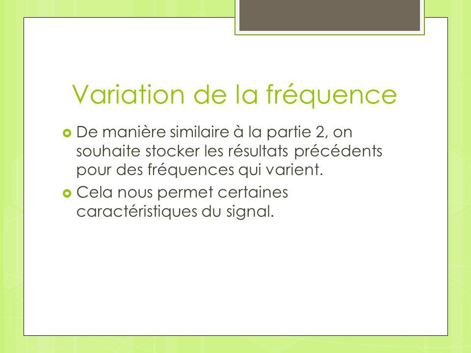 Variation de la fréquence De manière similaire à la partie 2, on souhaite stocker les résultats précédents pour des fréquences qui varient.