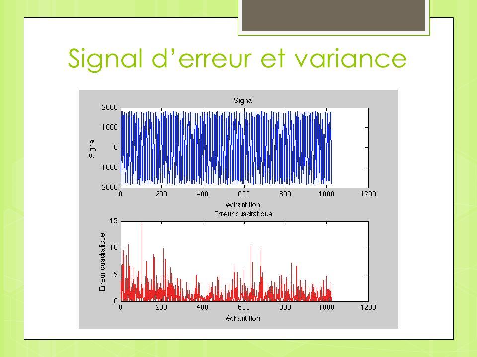 Signal derreur et variance Variance = 2.6394