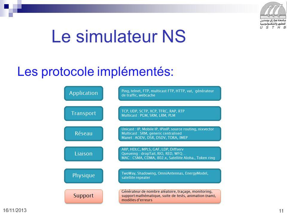 11 16/11/2013 Le simulateur NS Les protocole implémentés: