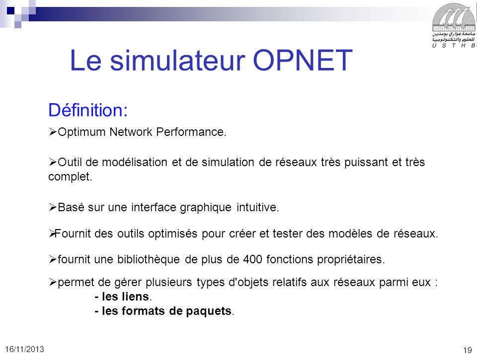 19 16/11/2013 Le simulateur OPNET Définition: Optimum Network Performance.