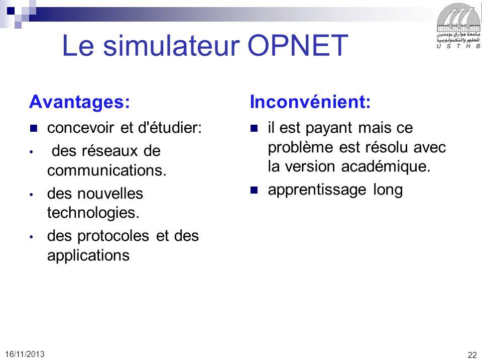 22 16/11/2013 Le simulateur OPNET Avantages: concevoir et d étudier: des réseaux de communications.