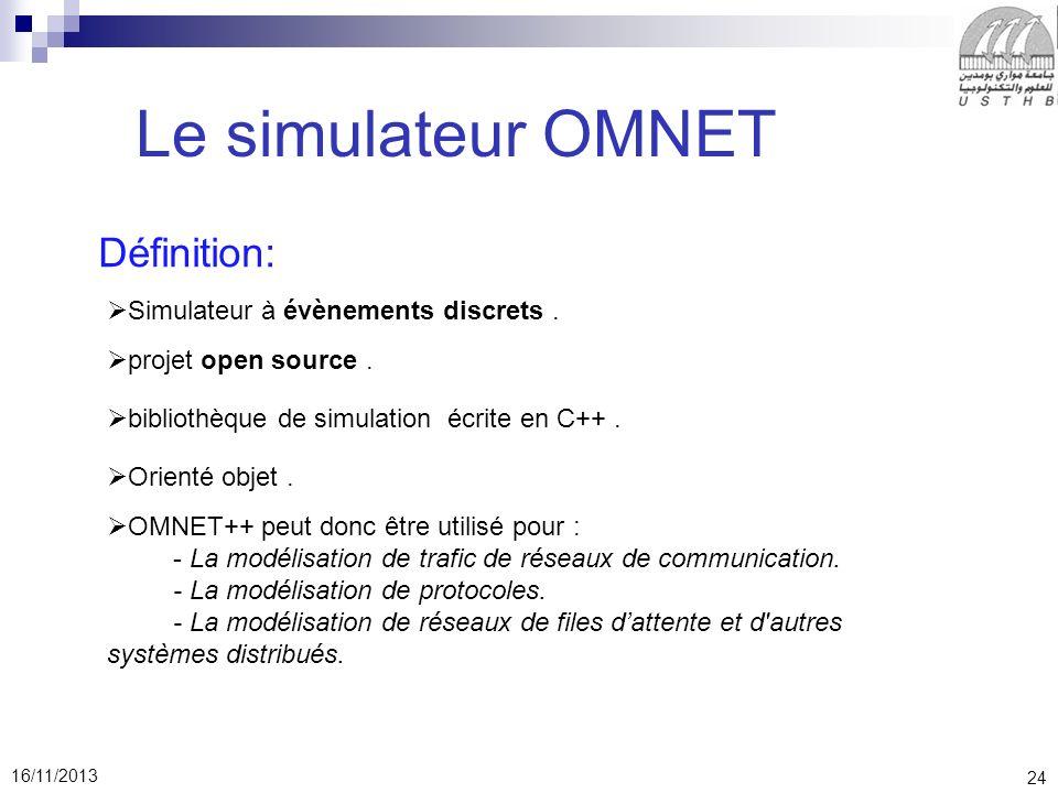 24 16/11/2013 Le simulateur OMNET Définition: Simulateur à évènements discrets.