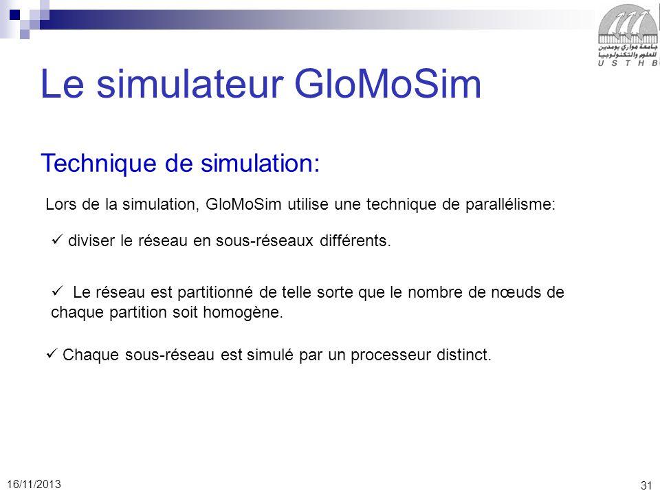 31 16/11/2013 Le simulateur GloMoSim Technique de simulation: Lors de la simulation, GloMoSim utilise une technique de parallélisme: diviser le réseau en sous-réseaux différents.