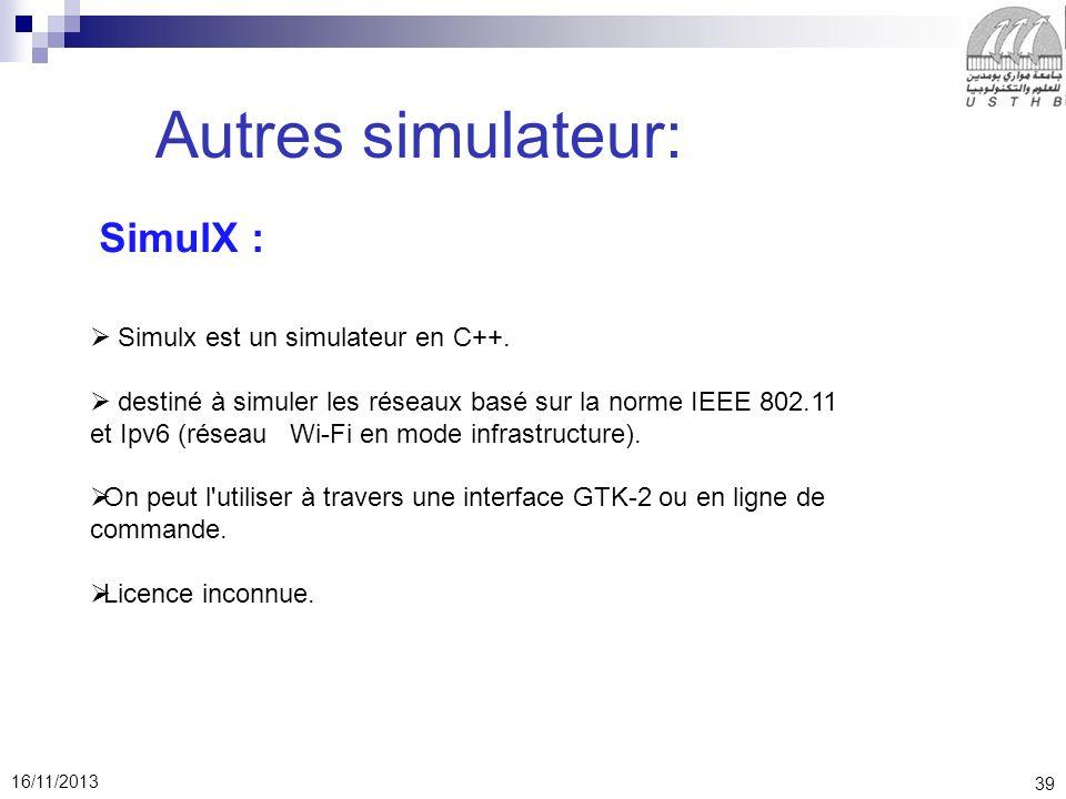 39 16/11/2013 Autres simulateur: SimulX : Simulx est un simulateur en C++.