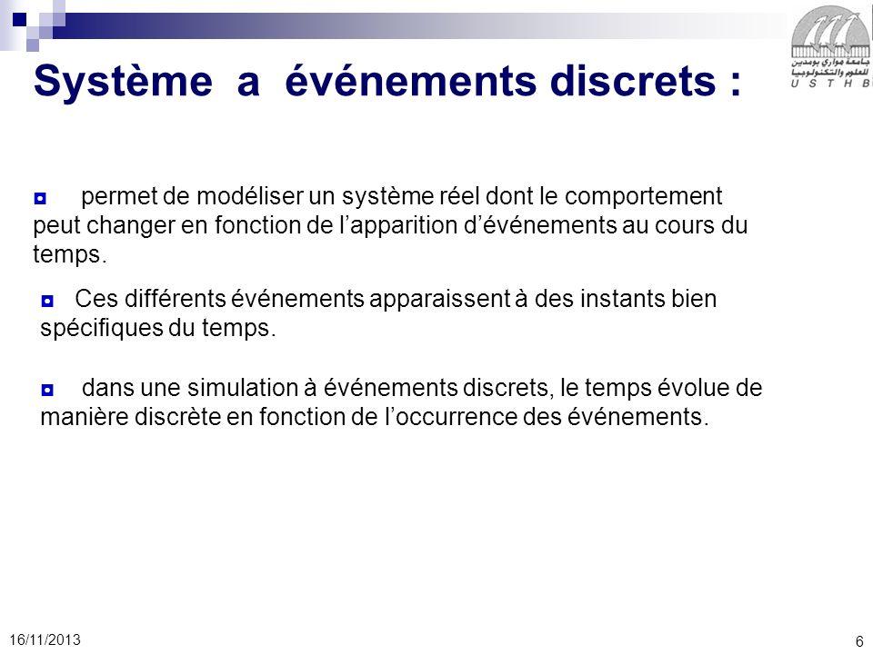 6 16/11/2013 Système a événements discrets : permet de modéliser un système réel dont le comportement peut changer en fonction de lapparition dévénements au cours du temps.