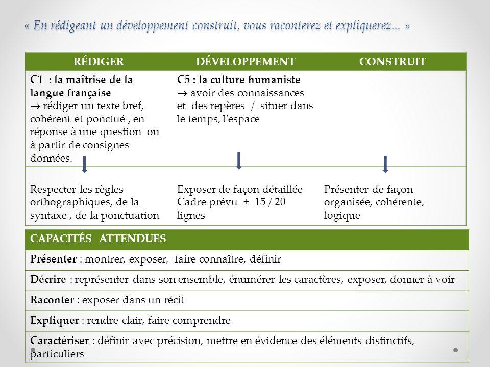 : « En rédigeant un développement construit, vous raconterez et expliquerez... » RÉDIGERDÉVELOPPEMENTCONSTRUIT C1 : la maîtrise de la langue française