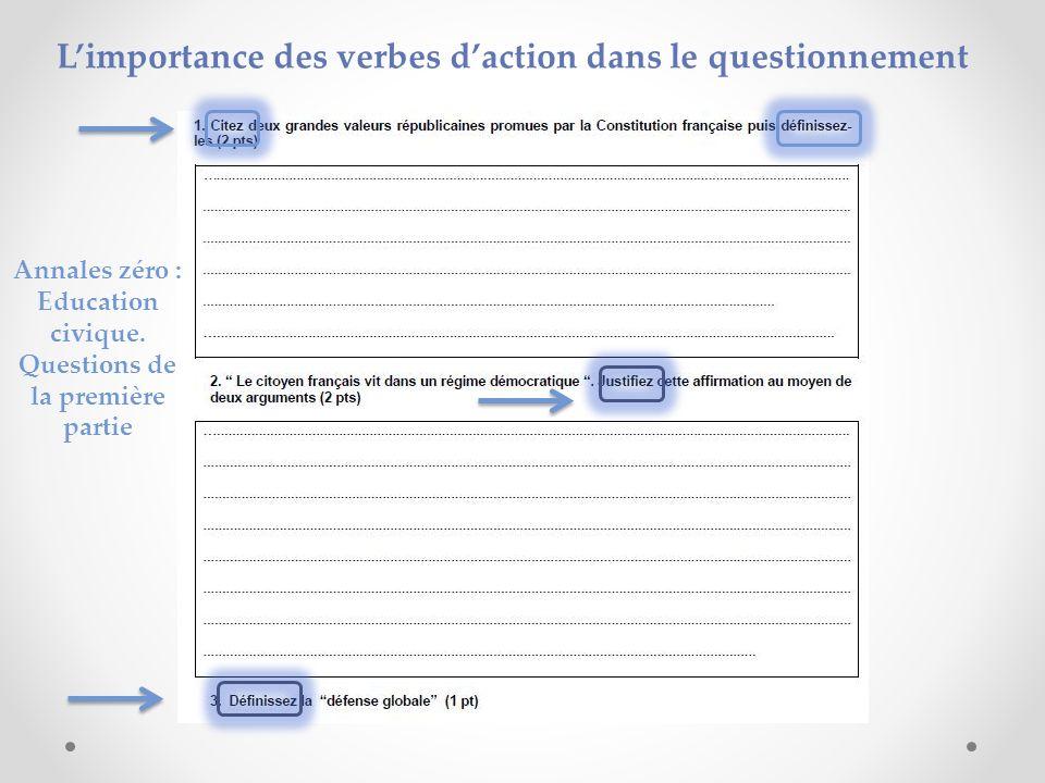 Limportance des verbes daction dans le questionnement Annales zéro : Education civique. Questions de la première partie