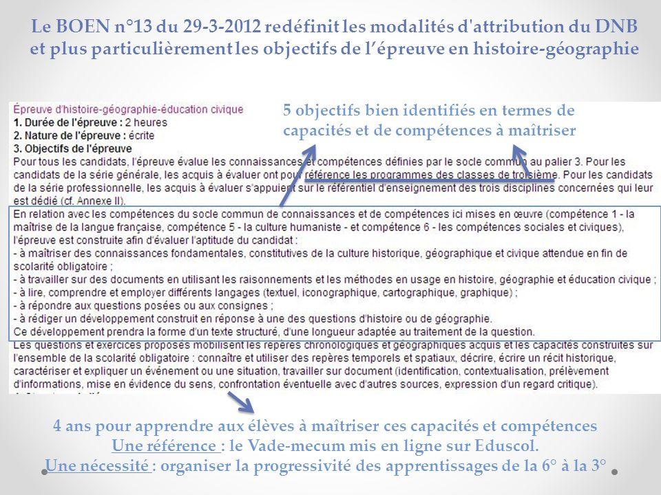Le BOEN n°13 du 29-3-2012 redéfinit les modalités d'attribution du DNB et plus particulièrement les objectifs de lépreuve en histoire-géographie 4 ans