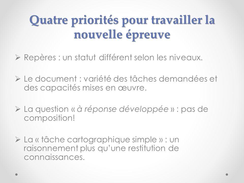 Quatre priorités pour travailler la nouvelle épreuve Repères : un statut différent selon les niveaux. Le document : variété des tâches demandées et de
