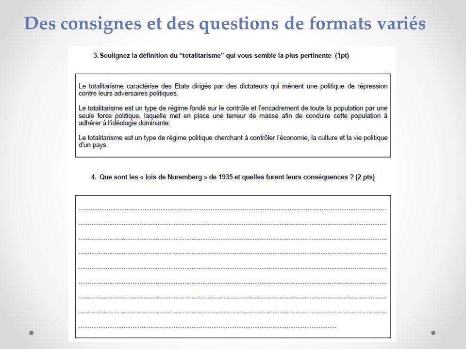 Des consignes et des questions de formats variés