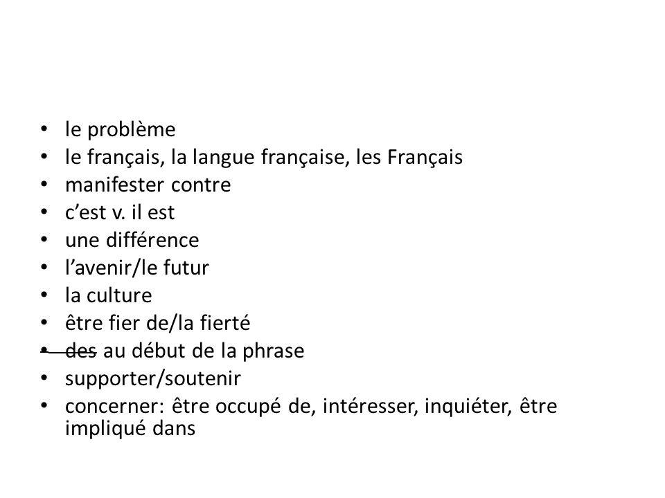 le problème le français, la langue française, les Français manifester contre cest v. il est une différence lavenir/le futur la culture être fier de/la
