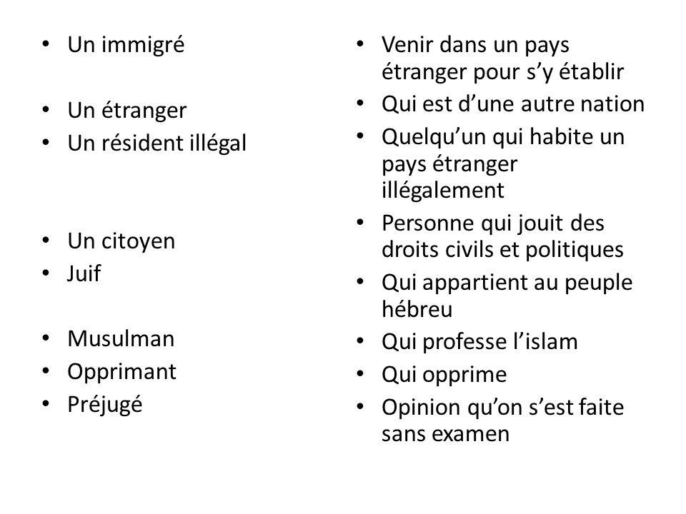 Un immigré Un étranger Un résident illégal Un citoyen Juif Musulman Opprimant Préjugé Venir dans un pays étranger pour sy établir Qui est dune autre n