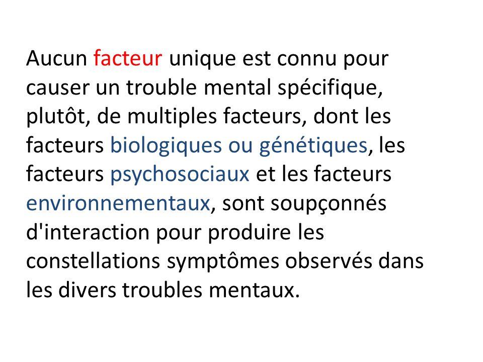 Aucun facteur unique est connu pour causer un trouble mental spécifique, plutôt, de multiples facteurs, dont les facteurs biologiques ou génétiques, l